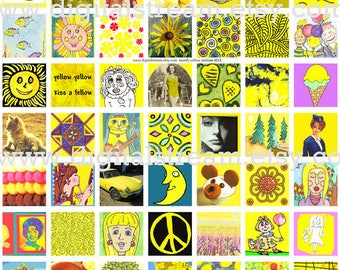 Mostly Yellow Inchies Digital Collage Sheet 1x1 Inch Squares 63 Different Images for Scrapbooking