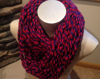 Arm Knit Infinity Scarf- Red & Blue Blend