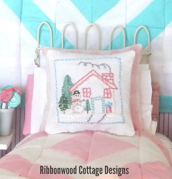 Custom Order- Meghan Snowman Embroidered Pillow