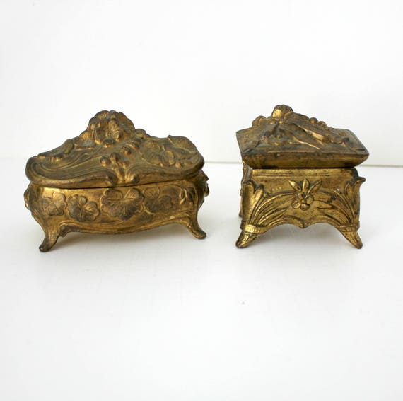 2 Antique Art Nouveau Casket Jewelry Trinket Boxes, Antique Gold Gilt Footed