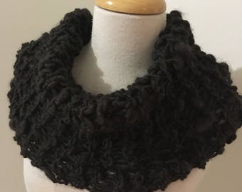 Rustic cowl bulky textured Hand Spun Hand Knit Scarf cowl Australian natural dark brown black alpaca