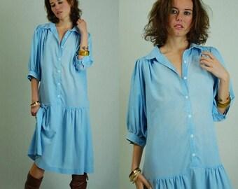 SALE 25% off sundays Chambray Dress Vintage 80s Light Blue Oversized Slouchy Drop Waist Chambray Dress (s m l)