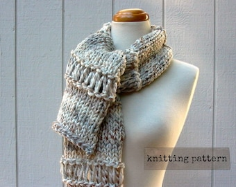 drop-down scarf. easy knitting pattern . chunky knit scarf pattern . drop stitch scarf knitting pattern . beginner knit scarf pattern pdf