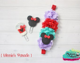 Mouse Planner band { Minnie's Parade } red, purple, aqua, planner paper clip, coffee cup planner girl accessories, baby headband