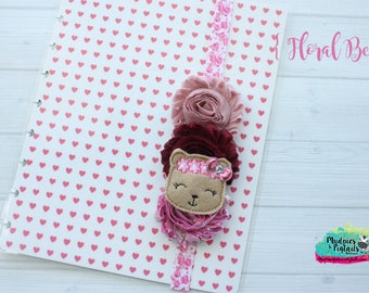 Planner band { Floral Bear } crown, spring, teddy bear pastel, pink, spring band planner girl accessories bible band, baby headband