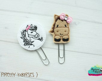 Planner Clip or Hair Clippies { Pretty Horses } silhouette, animal Summer Paper Clips, Stationary, Birthday party favors, kikkik