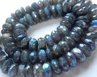 Blue Labradorite (Spectrolite) Gemstone. Semi Precious Natural Gemstone Bead. Faceted Diamond Rondelle, Large 7.5mm Strand Your Choice (bsp)