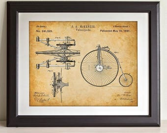 Velocipede Bicycle Art - 11x14 Unframed Patent Print - Great Gift for Bicyclists