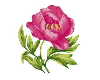 Cross stitch kit PEONY, cross stitch,flowers,cross stitch pattern,needlepoint,embroidery,pink,green,anette eriksson,swedish,scandinavian,diy
