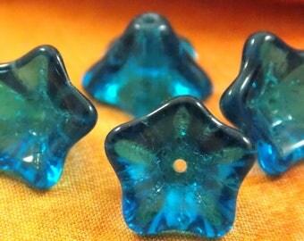 8/13mm,Capri Blue, Glass, New Czech, Trumpet Flowers,25