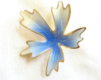 Vintage Blue, White and Gold Enamel Leaf Brooch
