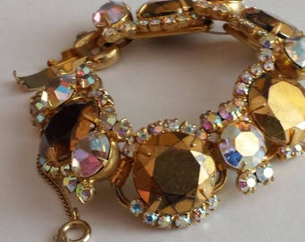 D&E aka Juliana Bracelet Topaz  5 link Gold DeLizza and Elster Costume Jewerly Rhinestones