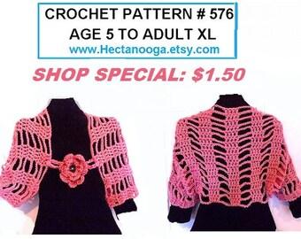 CROCHET PATTERN - shrug pattern, crochet for women- flower pattern - for kids, for women, plus custom sizes, num. 576