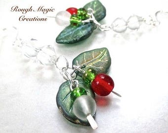 Colorful Holiday Jewelry, Christmas Earrings, Frosty Green Leaves, Red & Frosted White Berries, Boho Cluster Dangles, Silver Ear Wires  E396