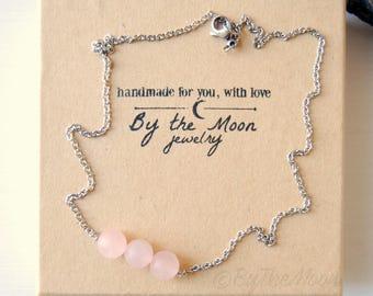 Rose Quartz Necklace, Rose Quartz Pendant, Pink Stone Necklace, Rose Quartz Choker, Pink Stone Choker, Gifts for Her, Crystal Necklace