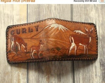 Vintage Tooled Leather Wallet Deer Family Antlers Distressed Curly Mountains