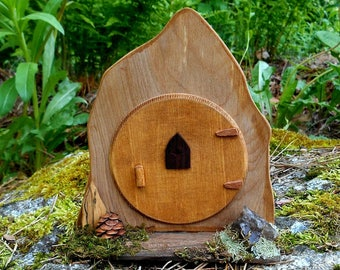Miniature Hobbit Door, Fairy Door with Porch, one of a kind Wood Fairy House door, Fairy Garden, forest finds, Natural materials
