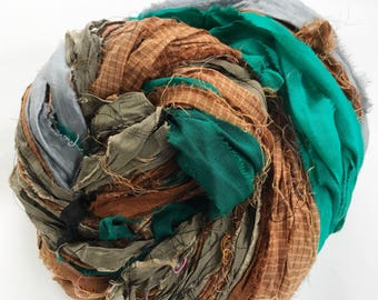 Sari Silk Ribbon, Reclaimed, Recycled, Fair Trade, Skein no. 319, 75 yds.