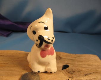 MINI SCOTTISH TERRIER  made of ceramic,Miniature Scottish Terrier , Whimsical Scottish Terrier with bow,1950 small scottoch terrier, little