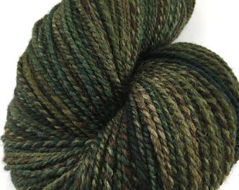 "Handspun Yarn Worsted Shetland 375 yds. ""Dark and Stormy"" Large Skein"