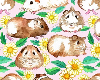 Guinea Fabric - Guinea Pigs And Daisies In Watercolor On Light Pink By Micklyn - Guinea Cotton Fabric By The Yard With Spoonflower