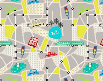City Maps Fabric - City Map By Susan Polston - Illustrated Map Cute Kids Cars City Town Cotton Fabric By The Yard With Spoonflower