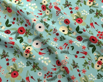 Holiday Holly Berries Fabric - Vintage Christmas Floral Blue By Twodreamsshop - Vintage Christmas Cotton Fabric By The Yard With Spoonflower
