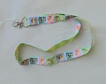 Handmade Grosgrain & Satin Ribbon Dog CHIHUAHUA Lanyard/Keychain/Badge Holder w/Metal Charm