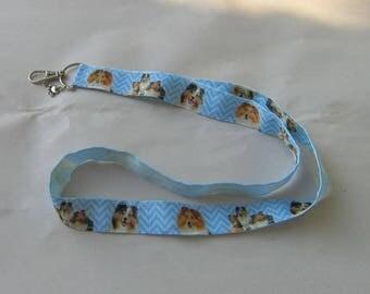 Handmade Grosgrain & Satin Ribbon Dog SHETLAND SHEEPDOG Lanyard/Keychain/Badge Holder w/Metal Charm