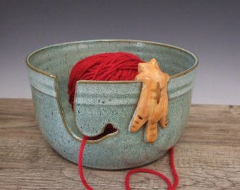 Yarn Bowl with Cute Orange Tabby Cat in Turquoise by misunrie