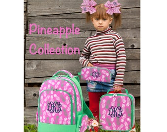 GIRLS personalized backpack , Back To School , kids backpack , lunch box,  monogrammed backpack , girls backpack, PINEAPPLE