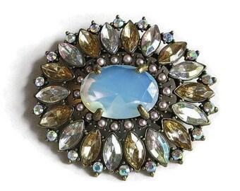 SALE Art Deco Style Nancy and Rise Brooch Large Blue Opaline Glass & Aurora Borealis Rhinestones Vintage