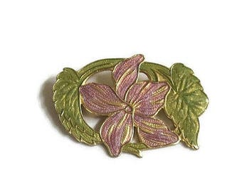 SALE Lavender and Green Enamel Lily Flower Brooch Vintage