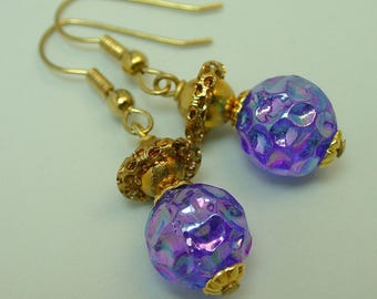 Vintage German Glass Blue Iridescent Bead Dangle Earrings, Vintage Gold Abacus Filigree Bead, Gold French Ear Wires