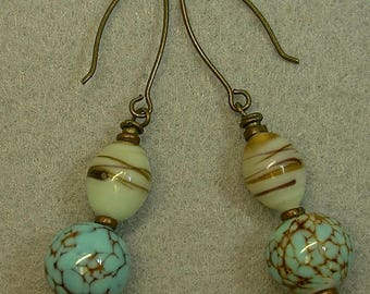 Vintage Aqua Blue Crackle German Glass Bead Dangle Drop Earrings, Vintage Japanese Amber Lamp work Glass Beads,Handmade Brass Earwires
