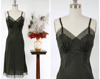 Vintage 1940s Slip - Chic Black Acetate Bias Cut 40s Slip with Net Lace Trim
