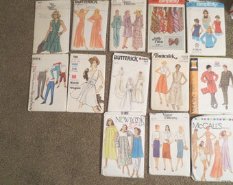 Vintage Sewing Patterns Lot of 13 Mixed Sizes MENS/WOMEN 1970s 1980s