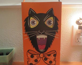 Halloween Cardboard Light Box / Vintage Halloween / Cat Owl Box / Halloween Decoration