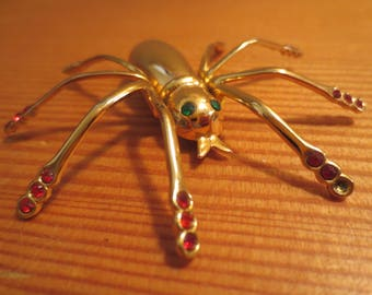 Vtg CORO Pegasus Figural Big SPIDER Brooch / Rhinestone Eyes and legs / Missing Clasp on the Back / Fun Repurposed Spider
