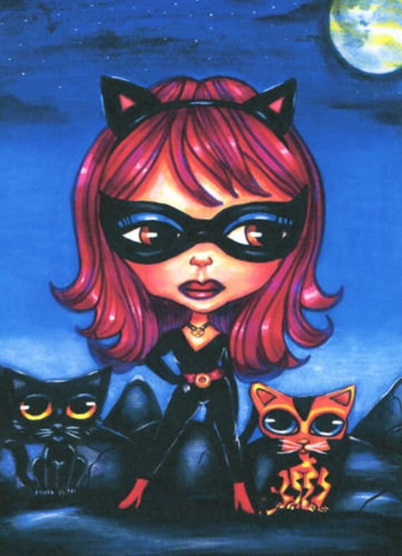 Cat girl blythe doll kittens original art print big eyes fantasy science fiction pop super heros pets
