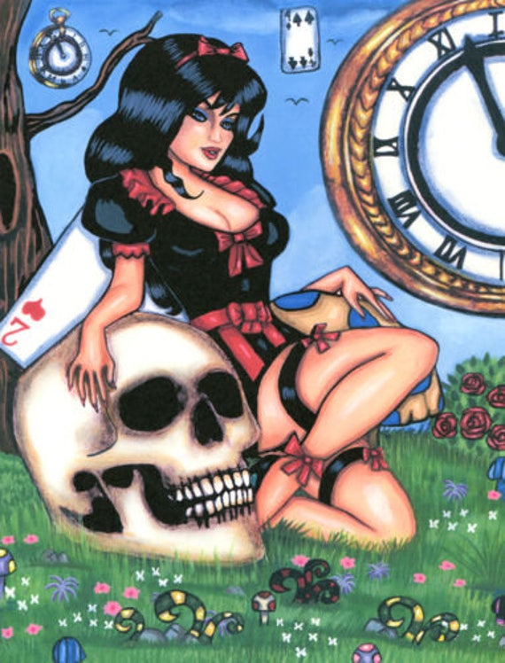 gothic pinup girl alice in wonderland original art print skull dark fantasy painting fairy tale pin up surreal artwork painting