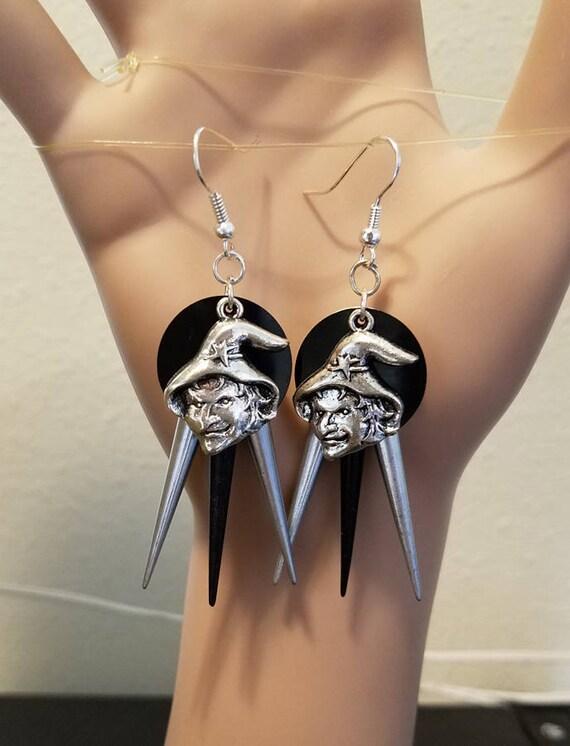 black silver witch face chandelier earrings halloween earrings spike drop charms goth punk handmade jewelry