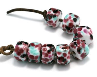 Salvador Drops Handmade Lampwork Glass Beads (8 Count) by Pink Beach Studios (2058)