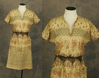 vintage 70s Lace Dress - 1970s Sheer Floral Lace Dress Sz M