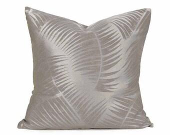 Grey Fern Pillow Cover, Metallic Pillow, Solid Gray Pillow, Elegant Throw Pillows, Mens Pewter Pillow, Contemporary Home Decor, 20x20
