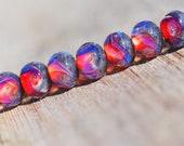 Lampwork BORO glass beads (7), borosilicate glass beads, handmade borosilicate lampwork glass beads, fuchsia pink,  silver. borosilicate SRA