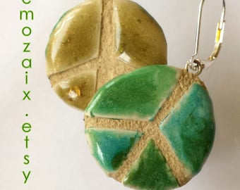 Peace Sign Earrings - Pewabic Pottery - REVERSIBLE - Blue Green - Mosaic Tile - Hippie Jewelry