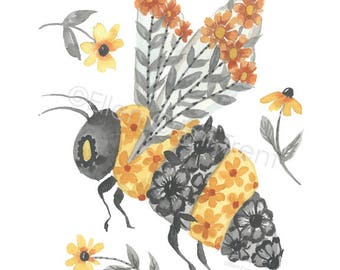 Watercolor Bumble Bee Flowers Wall Art Decor Yellow