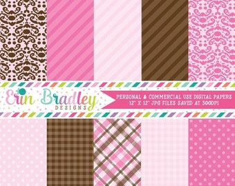 50% OFF SALE Pink & Brown Digital Scrapbook Papers Commercial Use Graphics Damask Striped Gingham Polka Dotted Printable Patterns