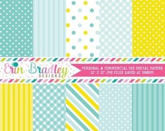 80% OFF SALE Blue Digital Paper Pack Polka Dots Stripes & Gingham Patterns Commercial Use Instant Download